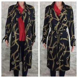 Vintage Lightweight Trench Coat Black + Gold Chain